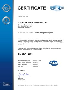 ISO 9001-2008 CERTIFICATE, valid until 7-20-15
